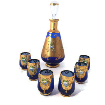 Bohemian Decanter & Glasses, Murano Gold Gilded Enamelled Cobalt, High Enamel Painted Glass, Mid Century Modern Decor