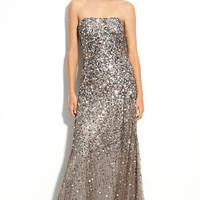 Adrianna Papell Sequined Strapless Mesh Gown   Nordstrom