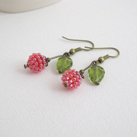 Autumn Berry Drops. Woodlands Cherry Lucite Drops with Green Czech Glass Leaves Red Drop Dangle Antiqued Earrings. Nature Inspired Earrings