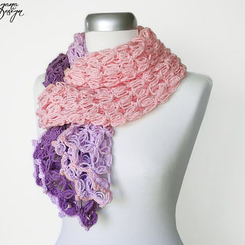 Crochet Solomons knot violet plum soft pastel pink three color scarf multicolor lace wrap shawl