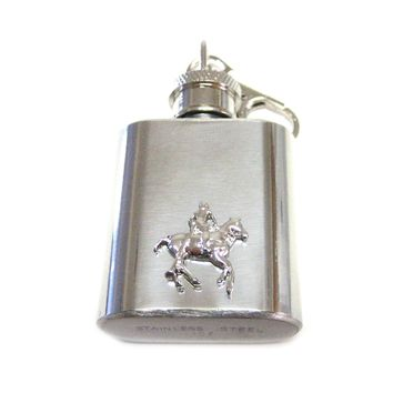 1 Oz. Stainless Steel Key Chain Flask with Horse Riding Pendant