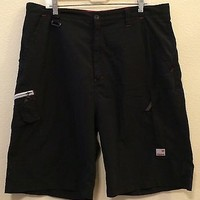 Mens One Tough Brand Black Cargo Board Long Casual Shorts Size 40 Polyester
