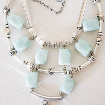FREE SHIPPING Chunky Turquoise Necklace/  turquoise bib necklace/ Boho Turquoise Necklace/ statement turquoise necklace
