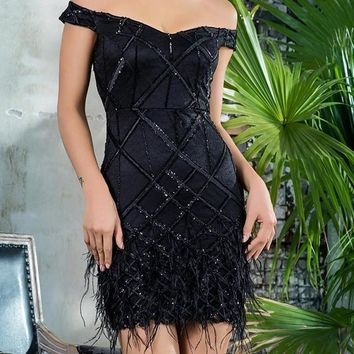 Black Onxy Off-the-Shoulder Luxury Dress
