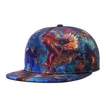 LMFG8W 1PC Colorful 3D Print Snapback Cap Hip Hop Baseball Cap For Men Fashion Starry Sky Casquette Blue Spring Summer Dragon Flat Hats