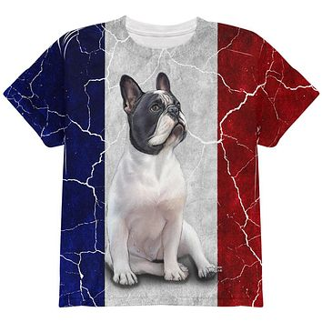 French Bulldog Live Forever Flag All Over Youth T Shirt