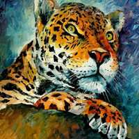 """Leopard — PALETTE KNIFE Animal Oil Painting On Canvas By Leonid Afremov - Size: 24"""" x 30"""""""