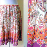 floral and paisley pleated skirt (28 inches)