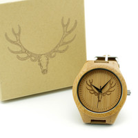 Men's Bamboo Deer Head Design With Genuine Cowhide Leather Band
