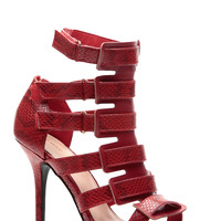 Red Reptilian Luxe Strappy Single Sole Heels