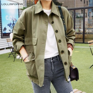 Military Style Jacket Women Army Green Jackets 2016 Spring New Fashion Multi-Pockets Cargo Jacket Free Shipping