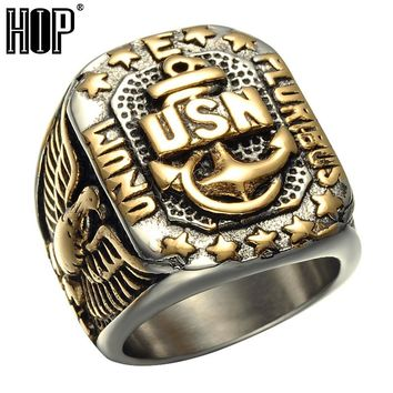HIP Punk Biker Two Tone Gold Color Titanium Stainless Steel USN Anchor US Navy Fingers Rings for Men Jewelry