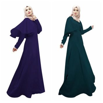 Elegant Women Cloak Kaftan Abaya Islamic Jilbab Muslim Dress Long Sleeve Cocktail Maxi Dresses