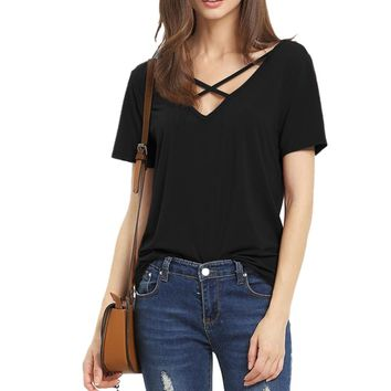 Women T Shirt 2017 Summer Fashion Bandage Sexy V Neck Criss Cross Top Casual Lady Female T-shirt lager size Lady Tees T Shirt