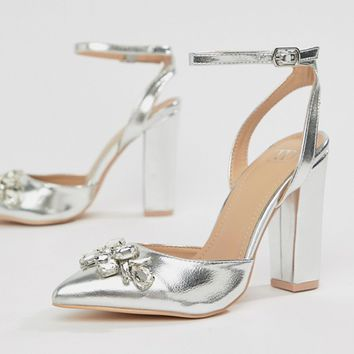 95aa41b90c20b4 True Decadence Silver Embellished Block Heel Shoes at asos.com