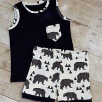 baby outfit, toddler boy outfit, organic baby outfit, bear print outfit, baby clothes, toddler clothes