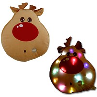 Tache Cute Christmas Lights Red-Nosed Reindeer Microbead LED Throw Pillow (TTS150312D)