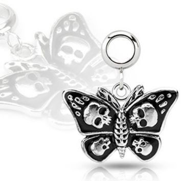 Multi Purpose Add-On 316L Stainless Steel Death Head Moth Dangle Charm (Sold by Piece)