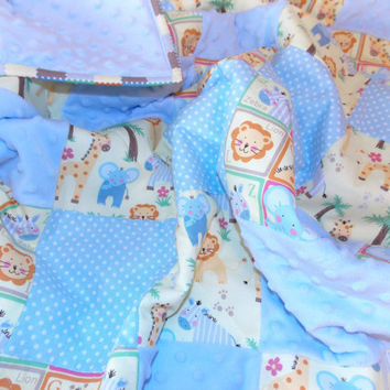 Baby Boy Quilt Blanket - Jungle, Safari Theme, Elephant, Giraffe, Lion, Zebra - Blue, Minky
