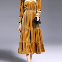 Yellow Pleated Velvet Long Layered Dress -SheIn(Sheinside)