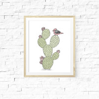 Cactus Nursery Theme. Desert Nursery. Bird and Cactus Art. Cactus Decor. Kids Room Decor. Nursery Prints. Southwest. Gender Neutral Nursery.