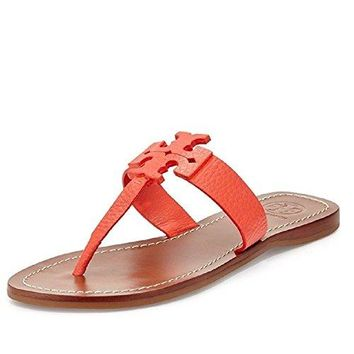 Tory Burch Moore Flat Thong Sandal Poppy Coral Elba Tumbled Leather Size 5.5