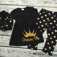 "Baby Girls 3pc Princess Outfit, Girls Infinity Scarf, Girl Clothing, Baby Girl Clothing, Gold & Black Polka-Dot 3pc set, ""Crown Me applique"""