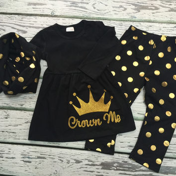 """Baby Girls 3pc Princess Outfit, Girls Infinity Scarf, Girl Clothing, Baby Girl Clothing, Gold & Black Polka-Dot 3pc set, """"Crown Me applique"""""""