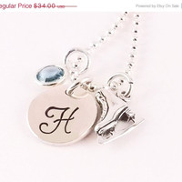 Winter Sale Personalized Monogram Style Initial Ice Skating Figure Skating Charm Necklace with Sterling Silver Ice Skate Charm and Crystal B