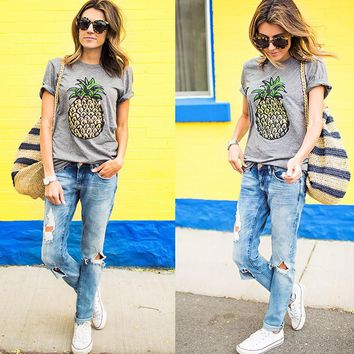Pineapple Pattern Summer Fashion Style Lovely Women T   Shirt = 4723410372