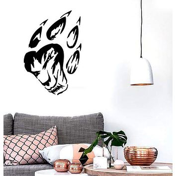 Wall Stickers Vinyl Decal Tiger Front Paw Print Asian Wood Scary Animal EM263