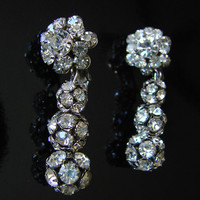 SALE Vintage Judy Lee Rhinestone Dangle Earrings * Designer Signed * Wedding Bridal * Drop * Chandelier * Jewelry
