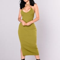 Wrapped Around My Finger Dress - Olive