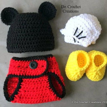 CROCHET PATTERN Mickey Mouse Photo Prop baby outfit INSTANT Download / Mickey Mouse baby outfit / crochet baby outfit patterns
