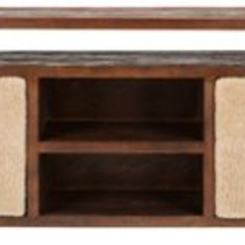 Marrau Shearling Media Cabinet, Brown, Media & TV