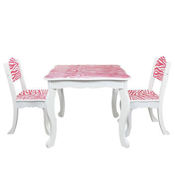 Teamson Kids - Zebra Kids Table and 2 Chairs Set