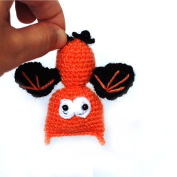Halloween party decoration, crochet bat doll, miniature bat toy, All Hallows' Eve ornament, halloween home decor, house warming at halloween