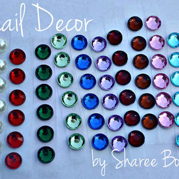 Nail Decor Gem Stones - Set of 6 Colored Rhinestones