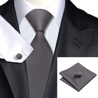 Formal Dark Grey Solid Silk Tie Suit Set