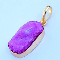 Druzy Pendant, Pink Druzy pendant, Agate Edged in Gold Pendant, Drussy Teardrop Pendant Necklace,