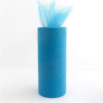 Tulle Spool Fabric Net Roll, 6-inch, 25-yard, Turquoise