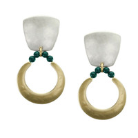 Marjorie Baer Clip Earrings in Brass and Silver with Turquoise Beads