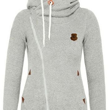 Light Grey Pockets Side Zip Badge Drawstring Hooded Long Sleeve Casual Vogue Hooded Sweatshirt