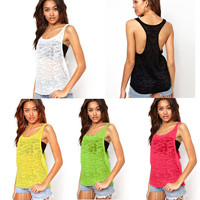 Round-neck Stylish Sleeveless Tee Women's Sexy Fashion Women Summer Vest = 5895601025