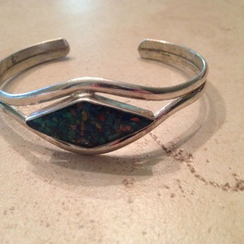 Vintage Alpaca Silver Cuff Bracelet Multi Colored Inlay Mexican Jewelry Mexico