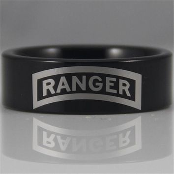 U.S. Army Ranger Black Tungsten Band Ring | Comfort Fit | 8MM