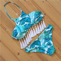 Tassel Bikini Bandage Leaves Printed Halter Swimsuit Bathingsuit