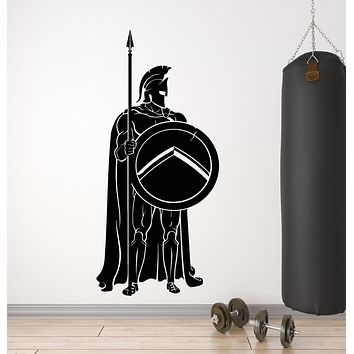 Vinyl Wall Decal Sparta Spear Shield Spartan Soldier Warrior Stickers Mural (g1377)