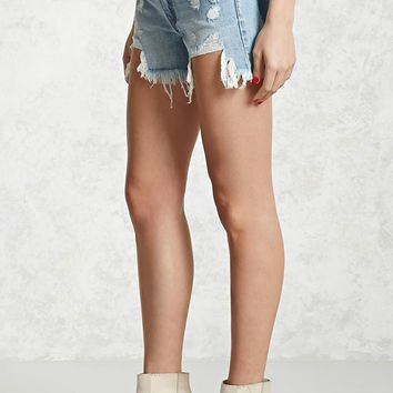 Mid-Rise Denim Cutoff Shorts