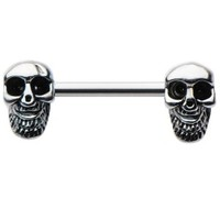 Skull Barbell Nipple Ring